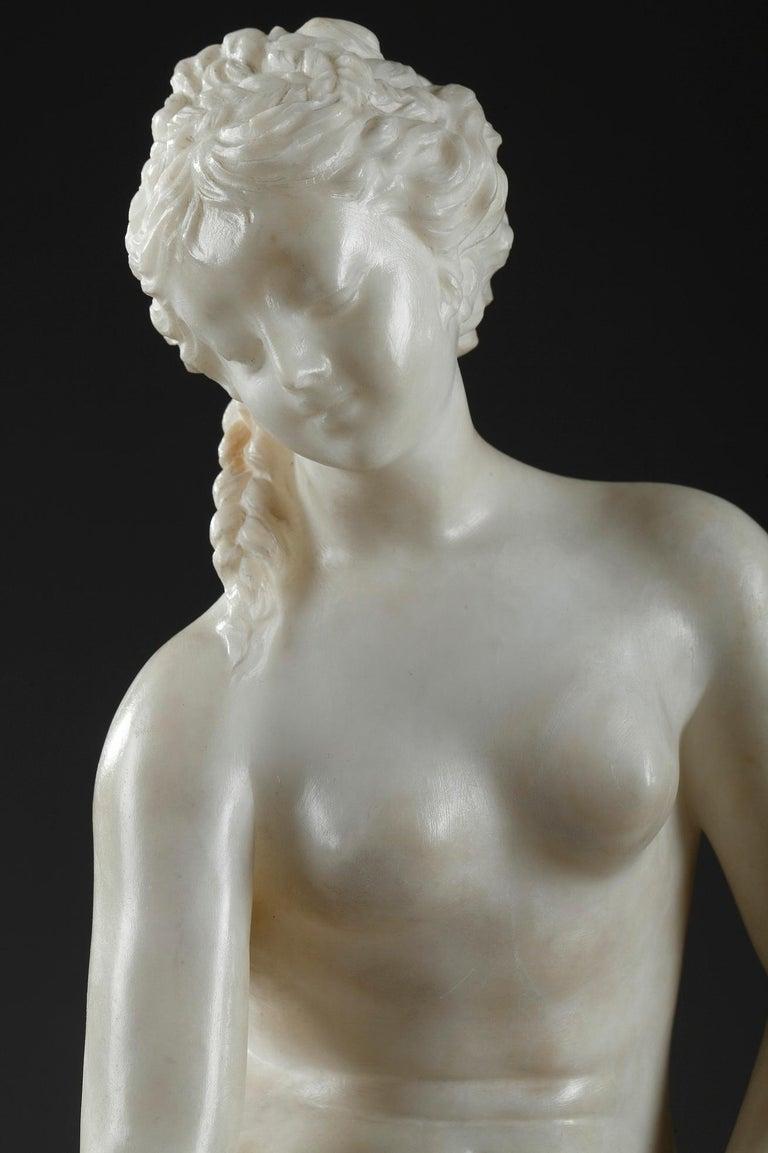 Italian Late 19th Century Alabaster Statue, Bather by Guglielmo Pugi