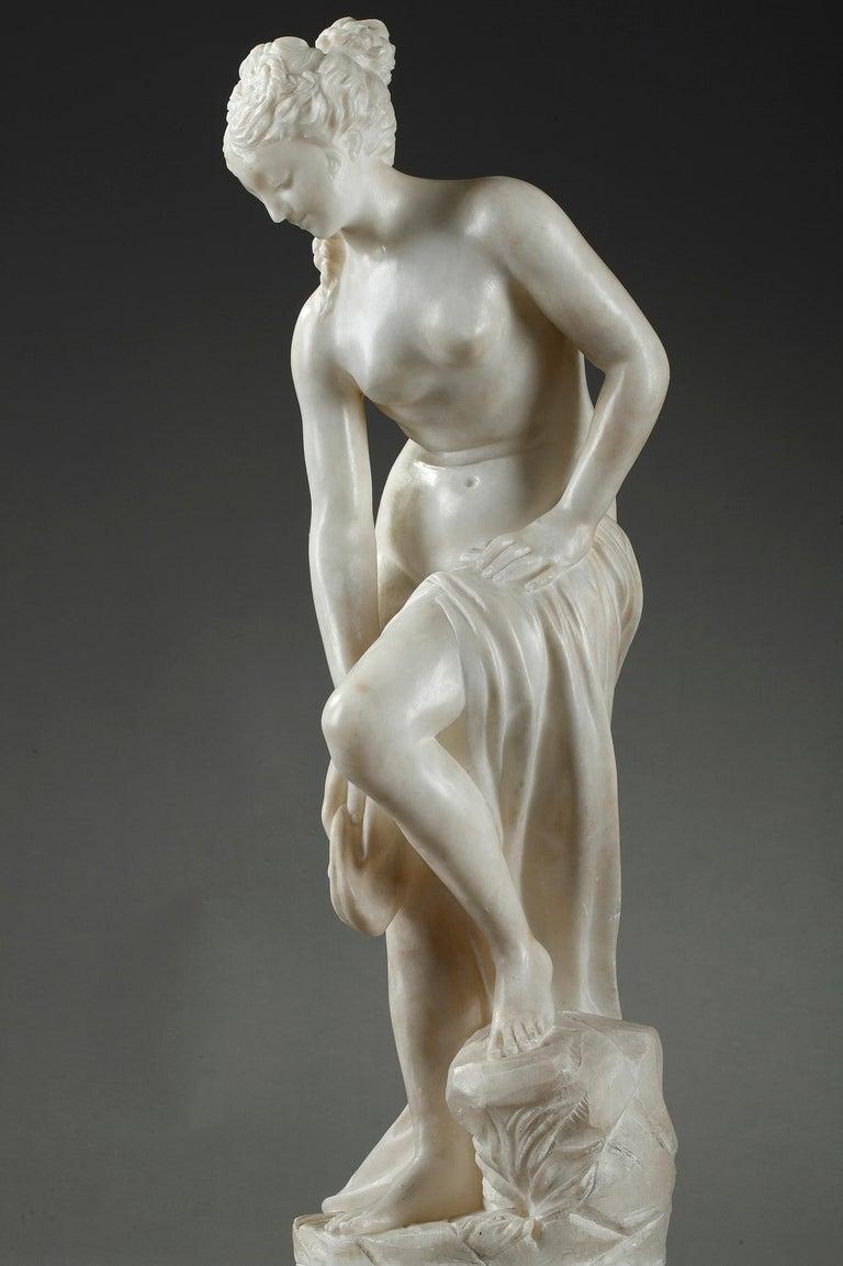 Late 19th Century Alabaster Statue, Bather by Guglielmo Pugi 1