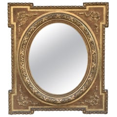 Late 19th Century Alfonsino Mirror in Burnished Gold Leaf with Stucco Embossed