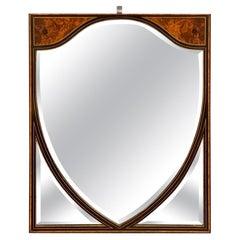 Late 19th Century Amboyna and Ebonized Mirror with Beveled Glass