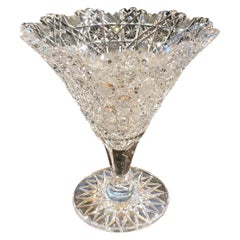 Late 19th Century American Cut Glass Trumpet Vase