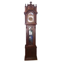 Late 19th Century American Nine Tube Extraordinary Oak Case Grandfather Clock