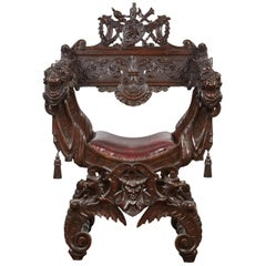 Late 19th Century American Savonarola Chair with Leather Upholstery