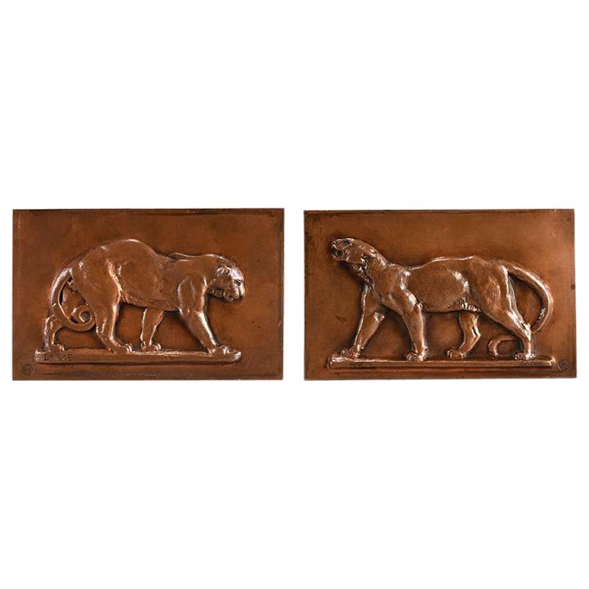 Late 19th Century Animalier Bronze 'Leopard and Panther' Plaques by Antoine L Ba