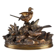 Late 19th Century Animalier French Bronze 'Bird Family' by Jules Moigniez