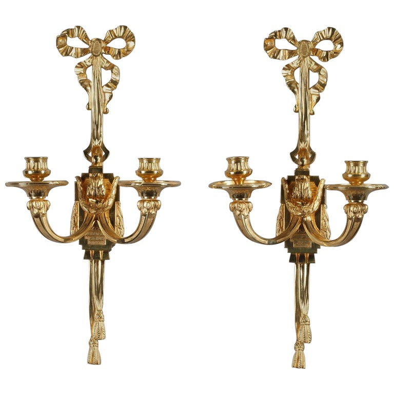Late 19th Century Antique Candle Wall Sconces in Louis XVI ...