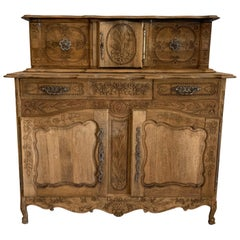 Late 19th Century Antique French Buffet Louis XV Style Bleached in Walnut