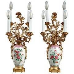 Late 19th Century Antique Lamps in Famille Rose Chinese Porcelain Taste