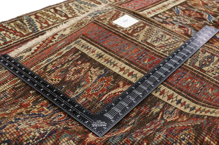 72392 late 19th century antique Persian Bijar runner, Tribal style Hallway runner. This late 19th century antique Persian Bijar runner features an all-over Herati pattern spread across an abrashed field. The classic Herati pattern, also known as the