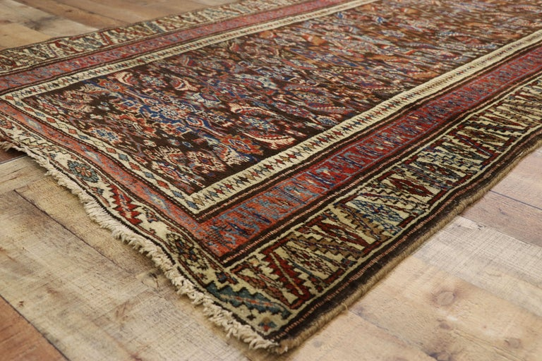 Aesthetic Movement Late 19th Century Antique Persian Bijar Runner, Tribal Style Hallway Runner For Sale
