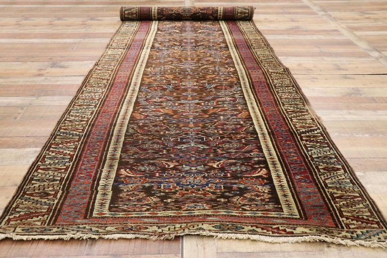 Hand-Knotted Late 19th Century Antique Persian Bijar Runner, Tribal Style Hallway Runner For Sale