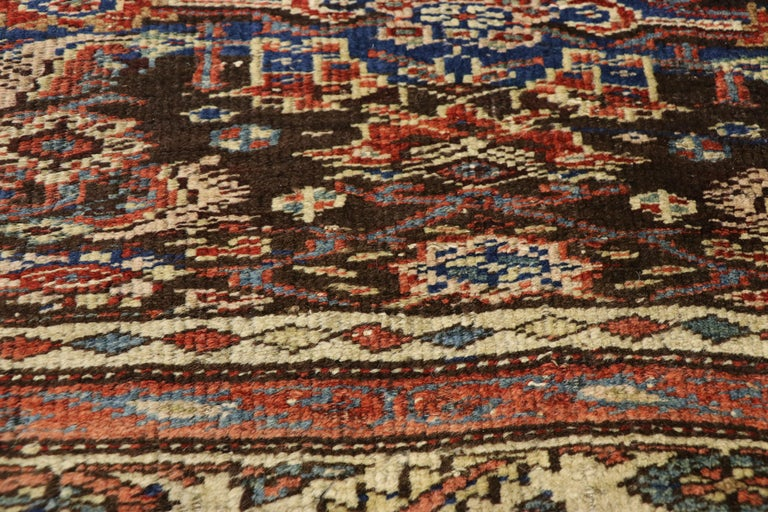 Late 19th Century Antique Persian Bijar Runner, Tribal Style Hallway Runner In Good Condition For Sale In Dallas, TX