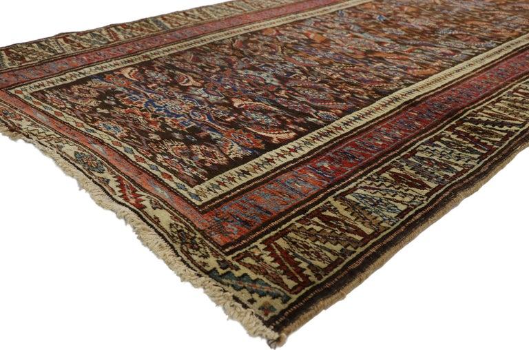 Wool Late 19th Century Antique Persian Bijar Runner, Tribal Style Hallway Runner For Sale