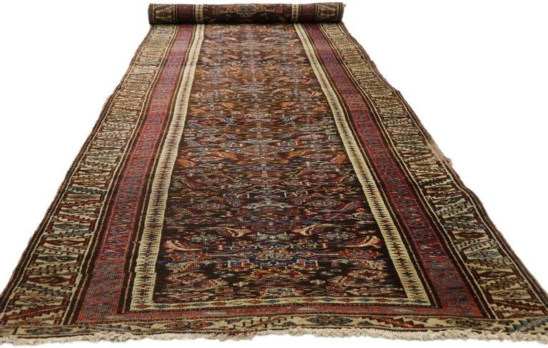 Late 19th Century Antique Persian Bijar Runner, Tribal Style Hallway Runner For Sale 1