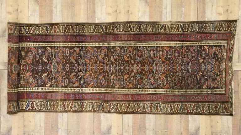 Late 19th Century Antique Persian Bijar Runner, Tribal Style Hallway Runner For Sale 2
