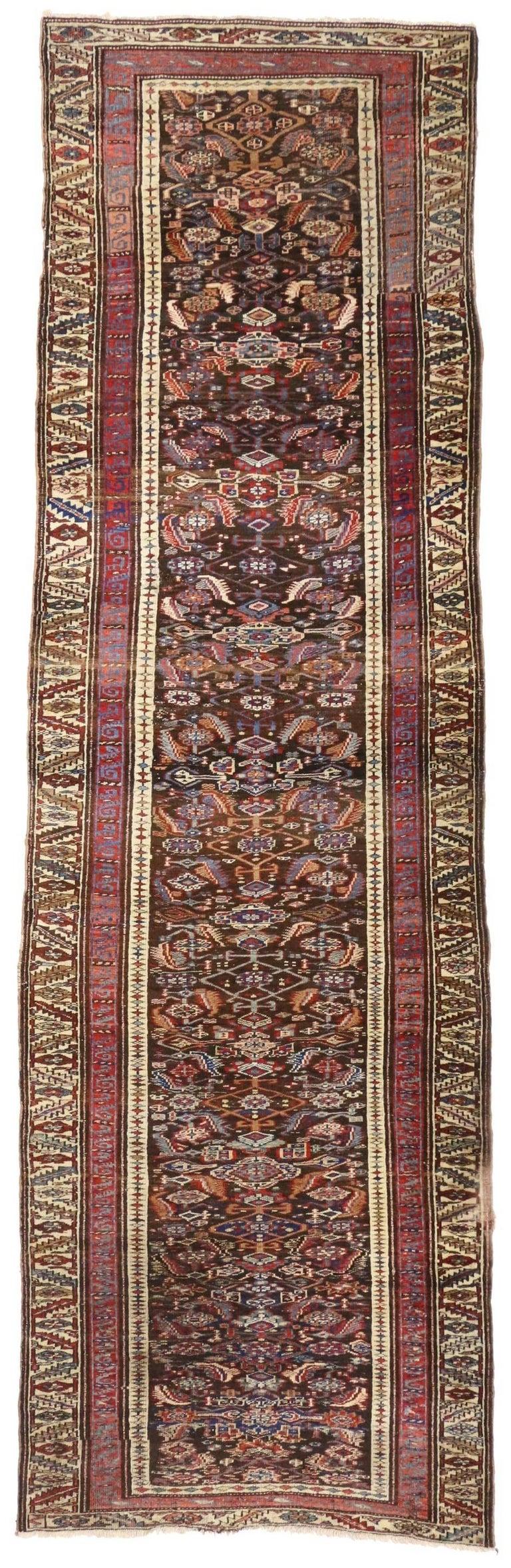 Late 19th Century Antique Persian Bijar Runner, Tribal Style Hallway Runner For Sale 3