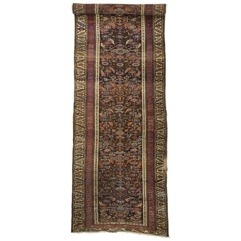 Late 19th Century Antique Persian Bijar Runner, Tribal Style Hallway Runner For Sale