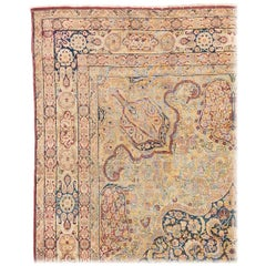 Late 19th Century Antique Persian Lavar Kerman of Muted Colors Hand Knotted Wool