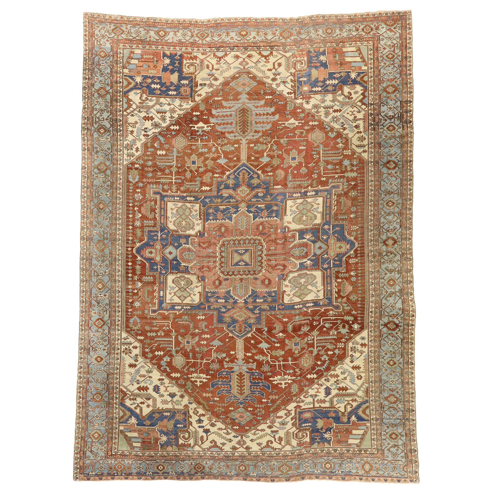 Late 19th Century Antique Persian Serapi Rug with Modern Design