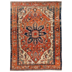 Late 19th Century Antique Serapi Wool Rug