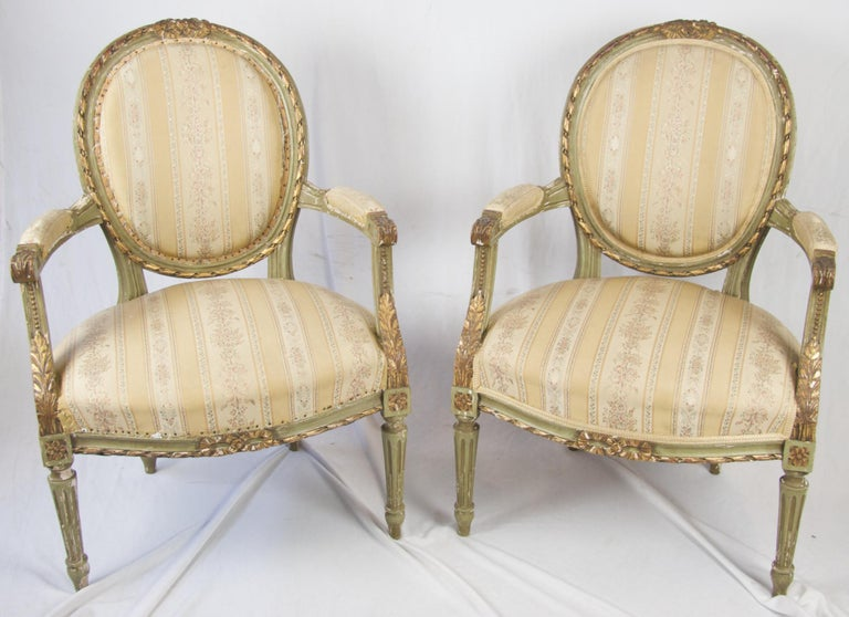 Late 19th Century Antique Swedish Gustavian Carved Gilt Carver Chairs For Sale 1