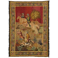Late 19th Century Antique Tapestry with Rococo Medieval Style
