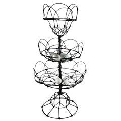 Late 19th Century Antique French Triple Tier Handmade Twisted Black Wire Basket