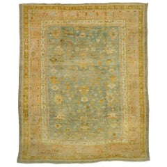 Late 19th Century Antique Turkish Oushak Rug with Time-Softened Colors