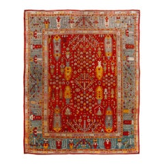 Late 19th Century Antique Turkish Oushak Wool Rug
