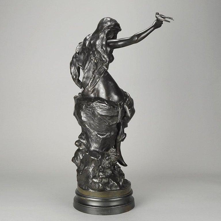 """Cast Late 19th Century Art Nouveau Bronze """"Hirondelles"""" by Mathurin Moreau For Sale"""
