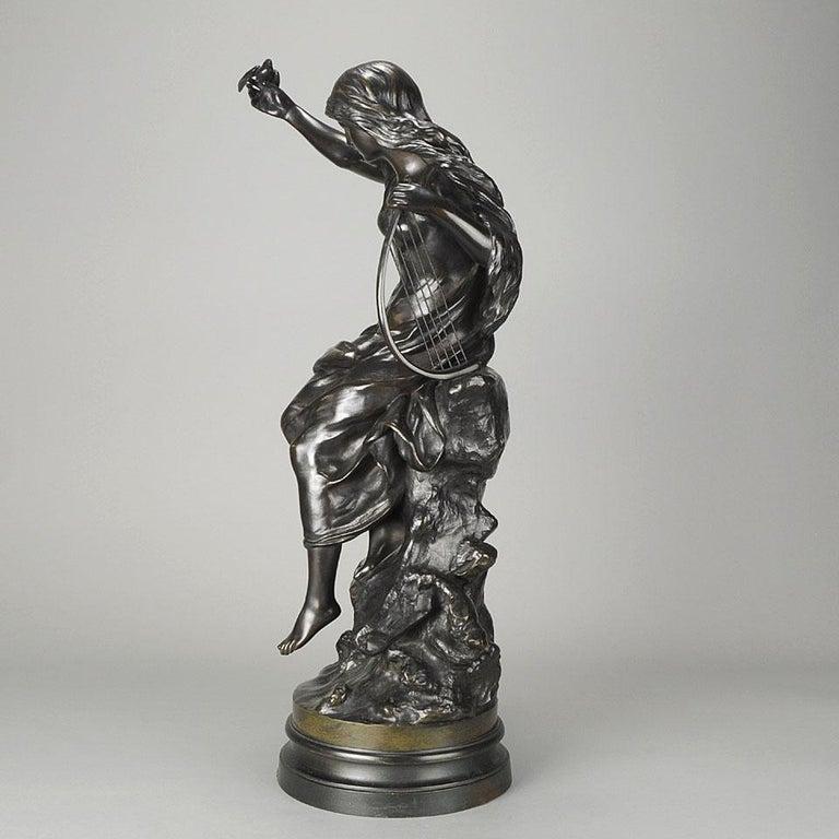 """Late 19th Century Art Nouveau Bronze """"Hirondelles"""" by Mathurin Moreau For Sale 2"""