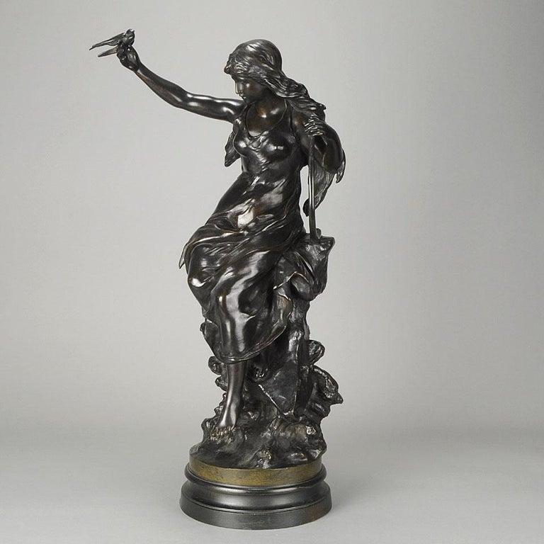 """Late 19th Century Art Nouveau Bronze """"Hirondelles"""" by Mathurin Moreau For Sale 3"""