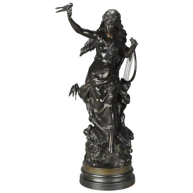 """Late 19th Century Art Nouveau Bronze """"Hirondelles"""" by Mathurin Moreau For Sale"""