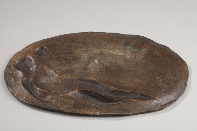 Patinated Late 19th Century Art Nouveau Bronze Tray by Emile Vernier For Sale
