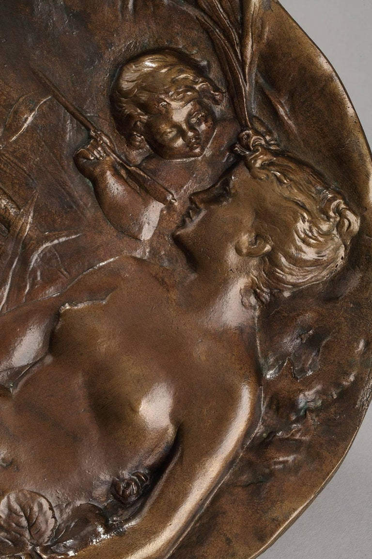 Late 19th Century Art Nouveau Bronze Tray by Emile Vernier In Good Condition For Sale In Paris, FR