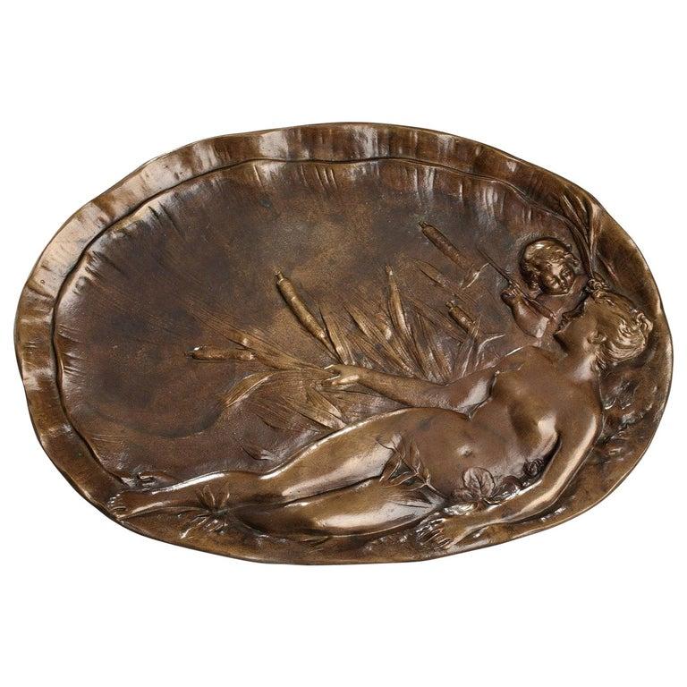 Late 19th Century Art Nouveau Bronze Tray by Emile Vernier For Sale