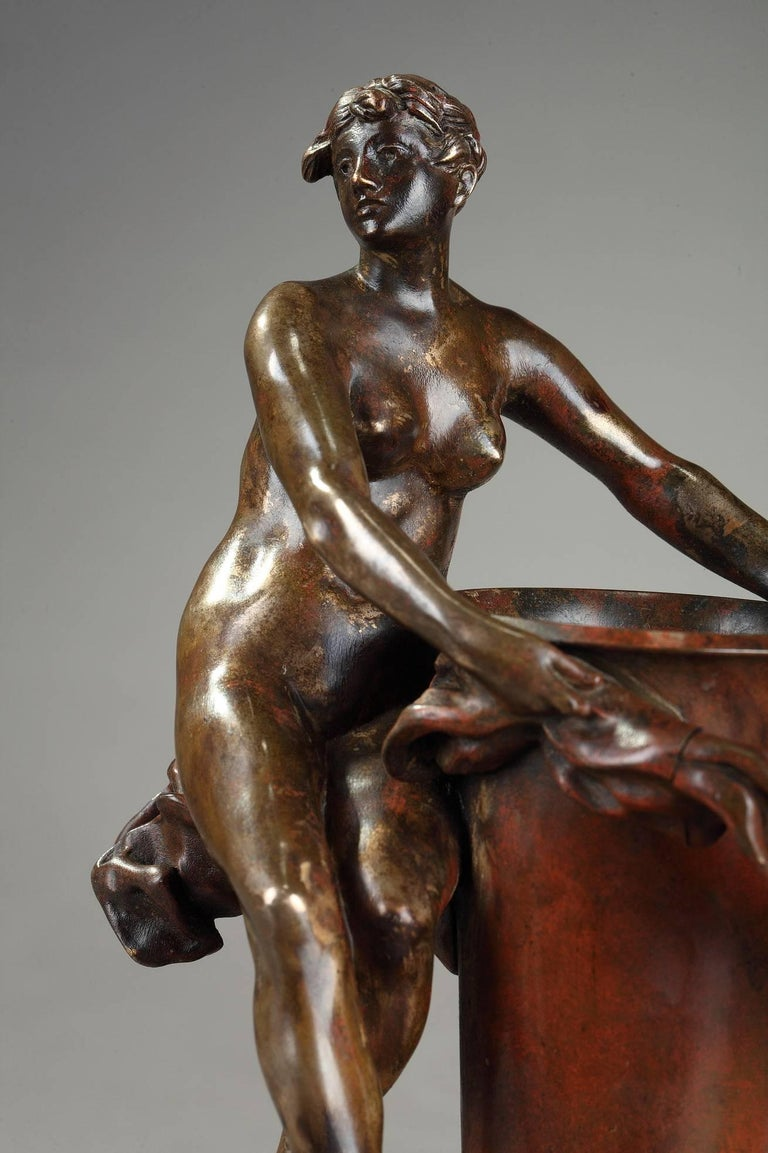 Late 19th century small bronze vase with brown and red patina decorated with a naked woman. She is set on a floating drapery which goes around the collar of the vase. Signed on the paunch P. AUBÉ as Jean-Paul Aubé (French, 1837-1916). Thiebaut