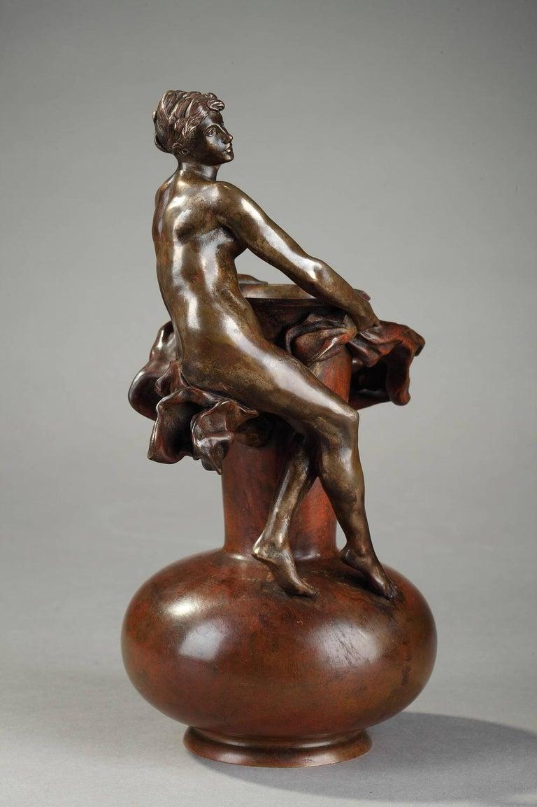 French Late 19th Century Art Nouveau Bronze Vase by Jean-Paul Aubé For Sale