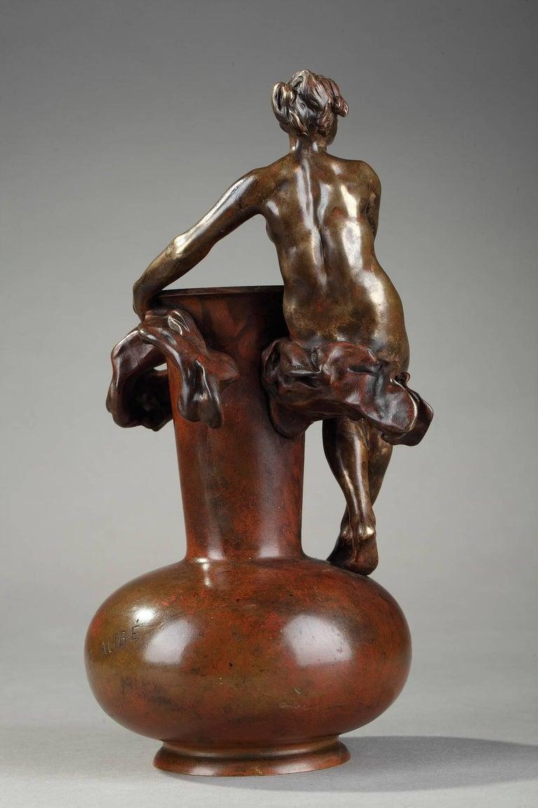 Patinated Late 19th Century Art Nouveau Bronze Vase by Jean-Paul Aubé For Sale