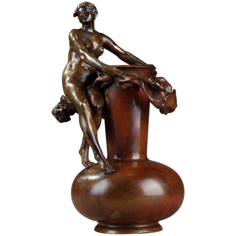 Late 19th Century Art Nouveau Bronze Vase by Jean-Paul Aubé For Sale