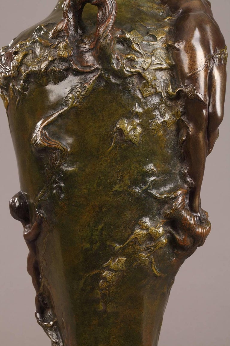 Patinated Late 19th Century Art Nouveau Bronze Vase by Marcel Debut For Sale