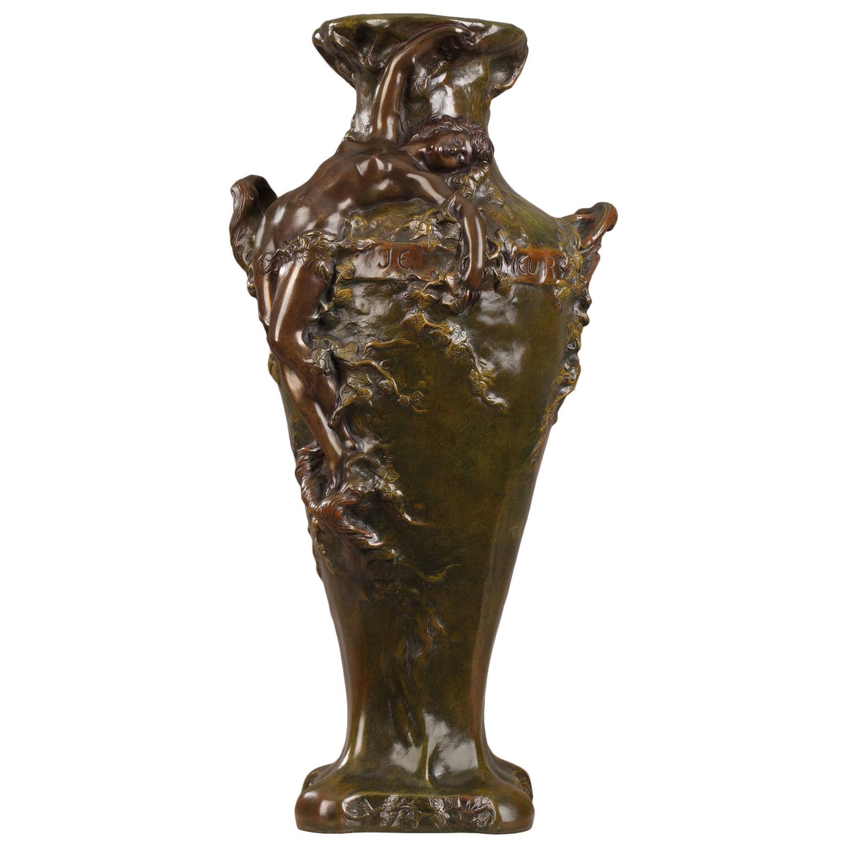 Late 19th Century Art Nouveau Bronze Vase by Marcel Debut