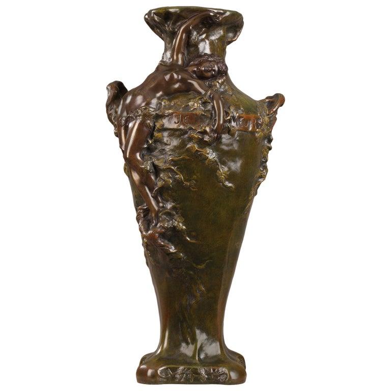 Late 19th Century Art Nouveau Bronze Vase by Marcel Debut For Sale