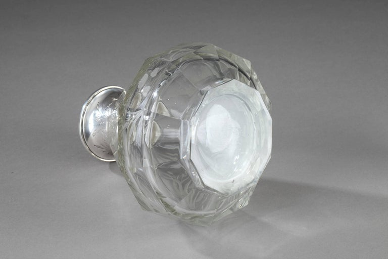 Late 19th Century Art Nouveau Crystal and Silver Flask For Sale 5
