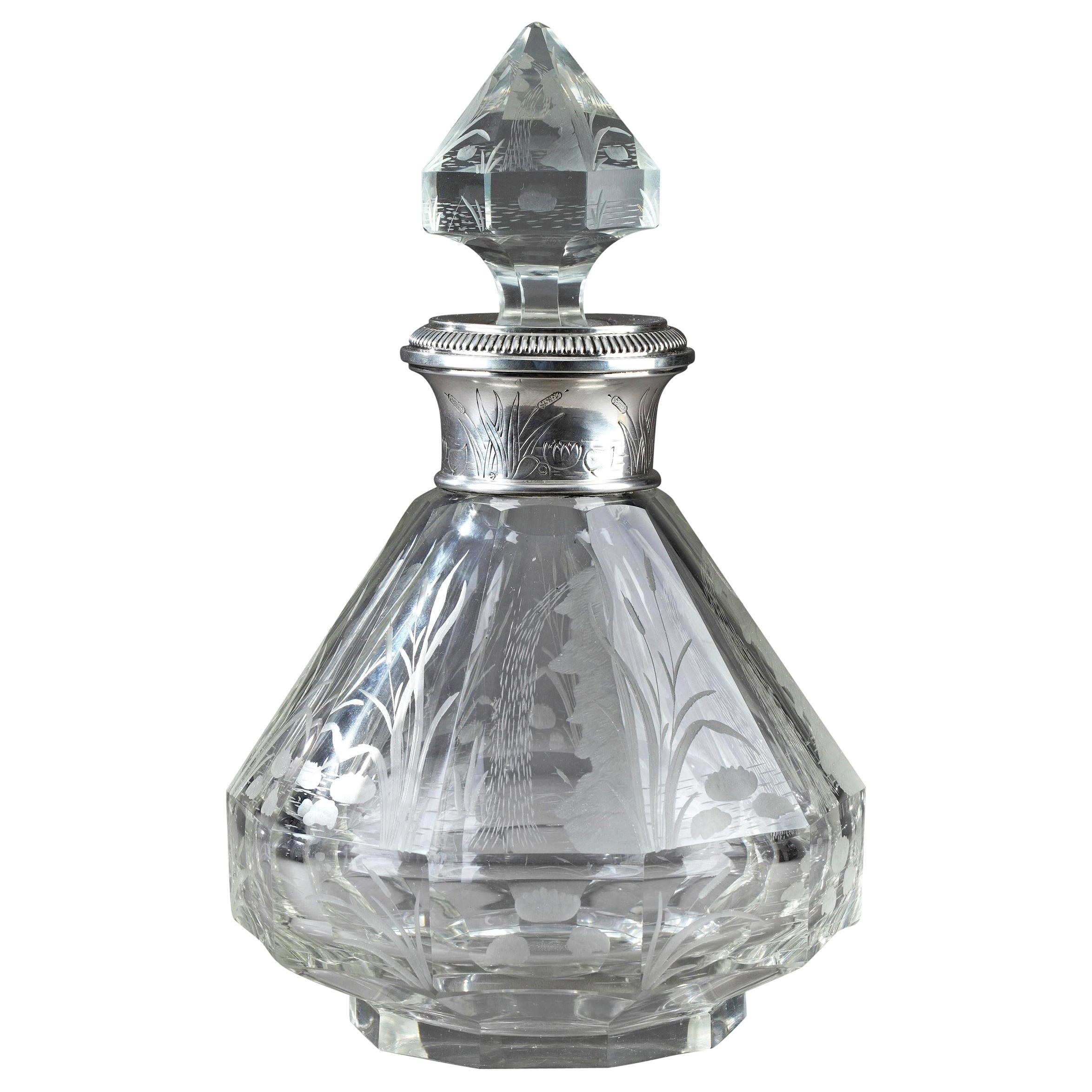 Late 19th Century Art Nouveau Crystal and Silver Flask