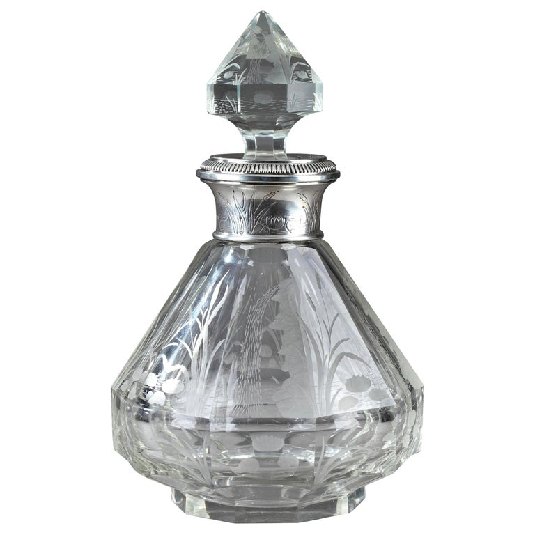 Late 19th Century Art Nouveau Crystal and Silver Flask For Sale