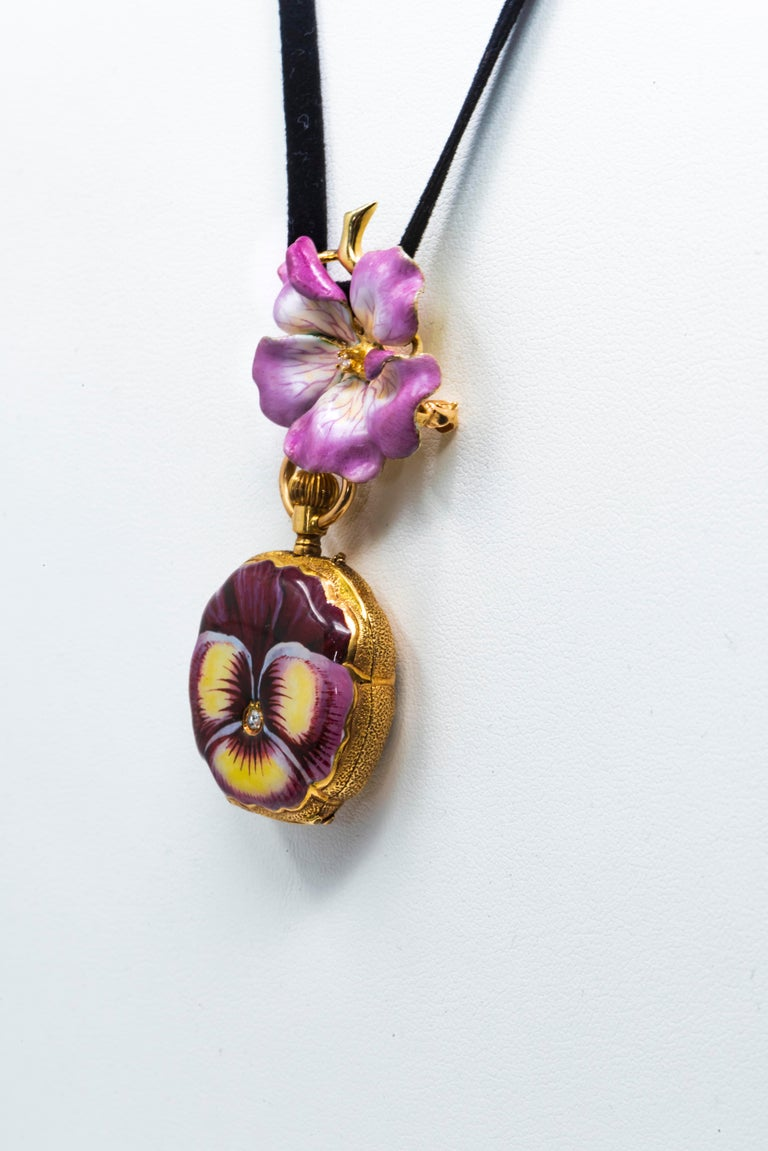 Late 19th Century Art Nouveau Diamond Enamel Pansy Brooch Pin Pendant Necklace For Sale 4