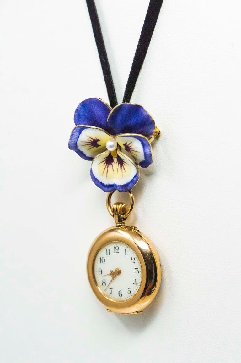 Late 19th Century Art Nouveau Diamond Enamel Pansy Brooch Pin Pendant Necklace For Sale 6