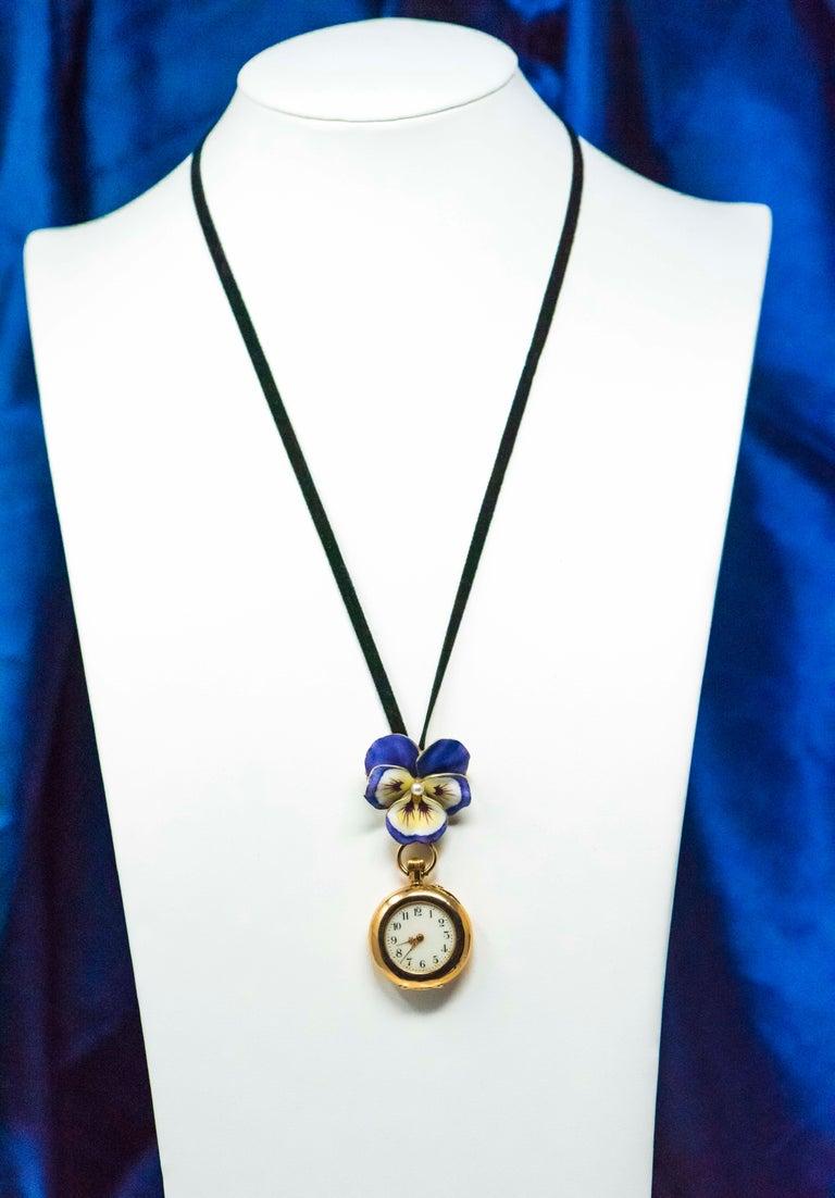 Late 19th Century Art Nouveau Diamond Enamel Pansy Brooch Pin Pendant Necklace For Sale 7