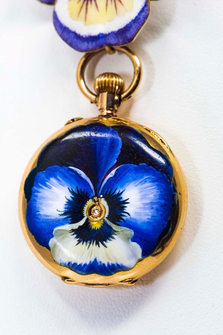 Late 19th Century Art Nouveau Diamond Enamel Pansy Brooch Pin Pendant Necklace For Sale 8